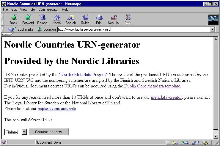 The Nordic metadata project