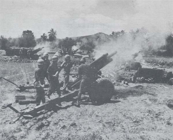 Field artillery 1954 1973 chapter 4 the build up 1965 1967 photograph 105 mm battery firing from hasty position sciox Choice Image