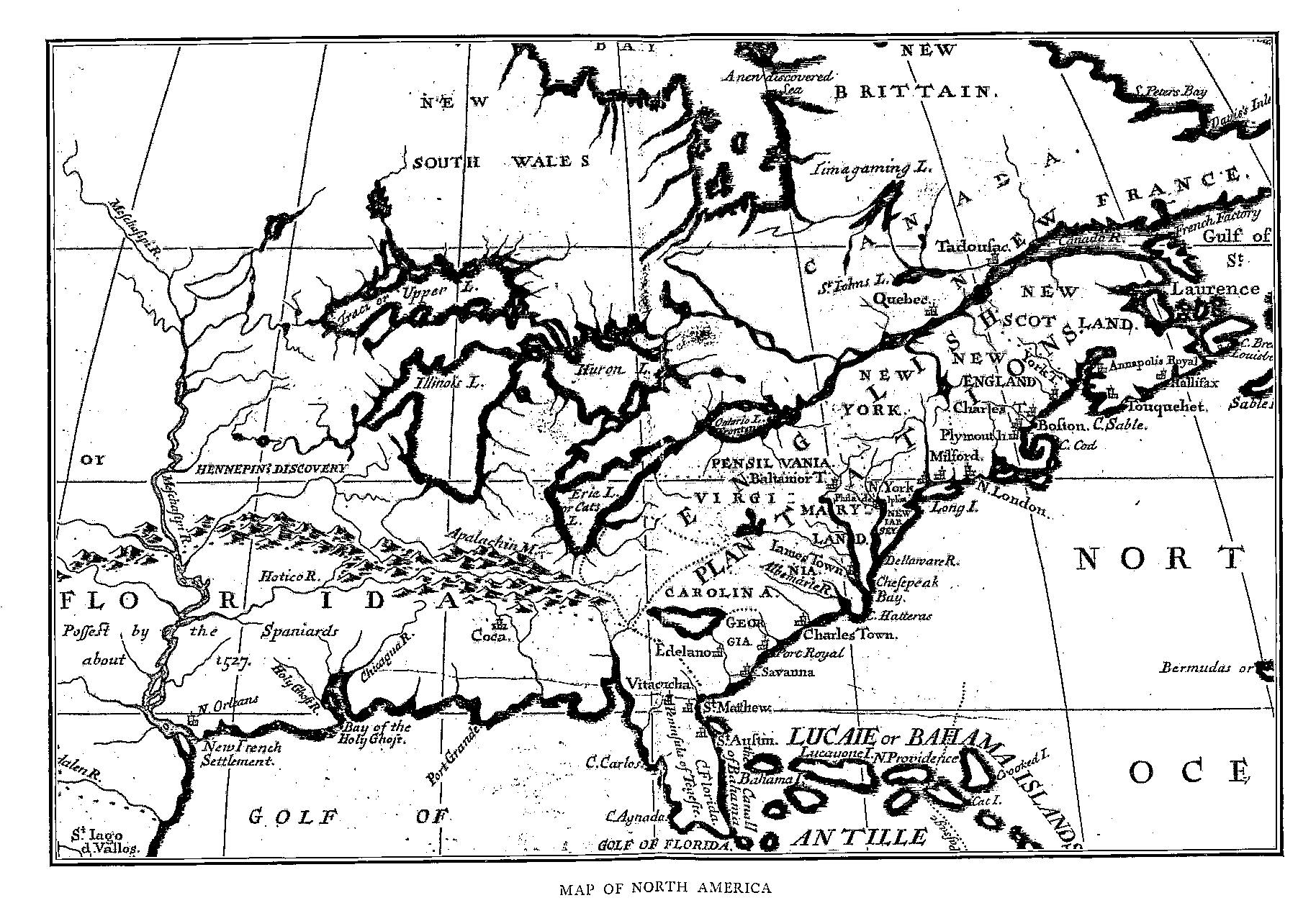 Image of: Fiske New France And New England Map 3 North America